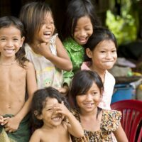 The Cambodian genocide seems a thing of the past as these Cambodian children laugh merrily for me as I photograph them
