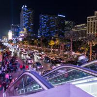 Living in Las Vegas can get hectic as seen in this nighttime photograph of pedestrian traffic on the glitzy main strip