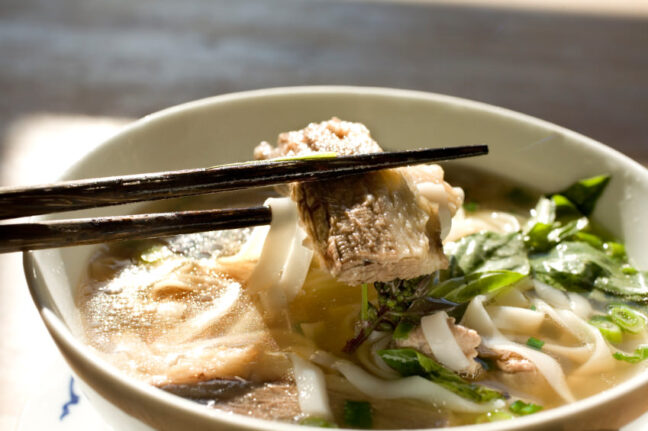 Beef Pho, a succulent noodle-broth dish with beef. There are also some greens in there.