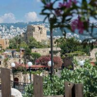 The citadel of Byblos, Lebanon amidst the lush foliage and surrounding city