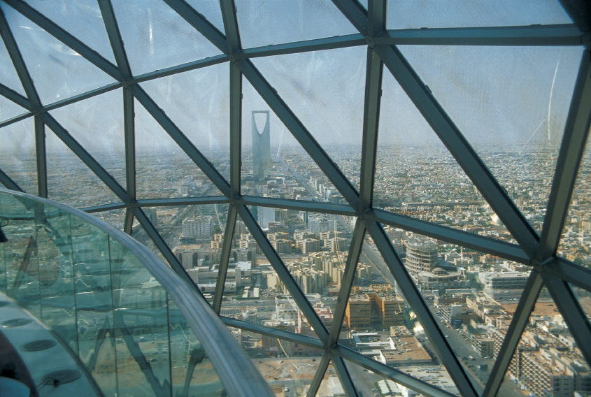 Panorama of Riyadh, Saudi Arabia, as seen from the Faisaliah tower.