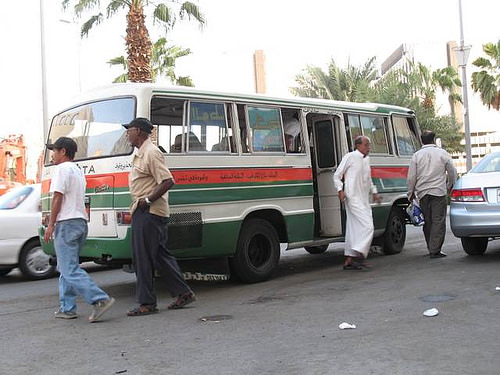 Picture of a very old microbus, transportation in Saudi Arabia
