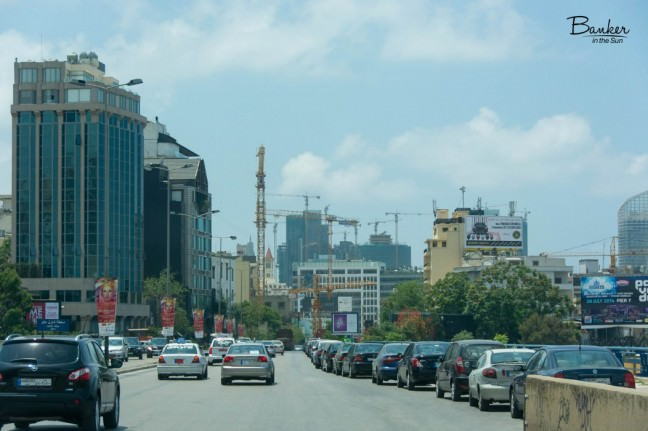One of the pictures of Beirut showing the vast amount of construction cranes on one of the city's streets. There must be at least ten.