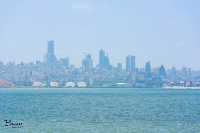 One of the pictures of Beirut's skyline from a distance, lightly hazy from the smog.