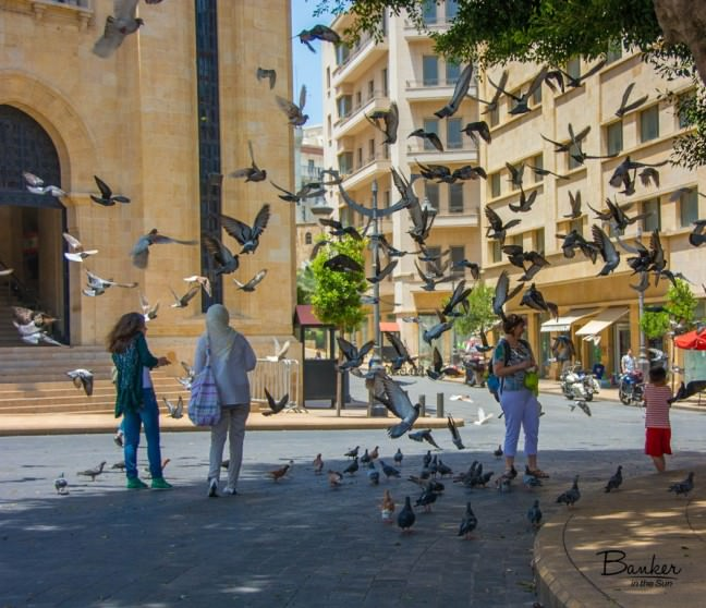Children Playing with Birds in Downtown Beirut Lebanon