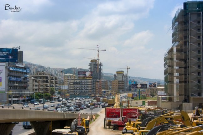 A skyline of Beirut, Lebanon with tons of cranes and construction equipment scattered about
