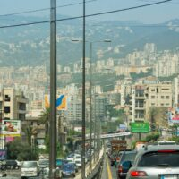Crowded traffic in Beirut.
