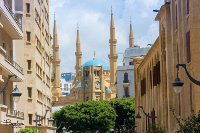 The clock tower of Beirut in the foreground, the Mohammad Al Amin Mosque in the background.