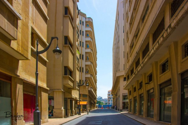 A quiet-looking street in downtown Beirut, Lebanon