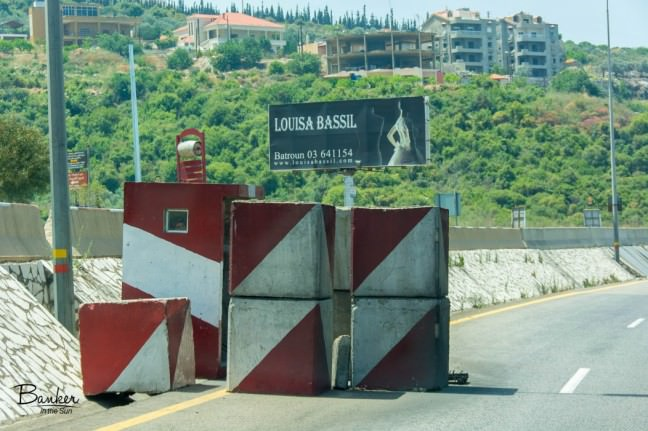 A security checkpoint along the highway in Lebanon.