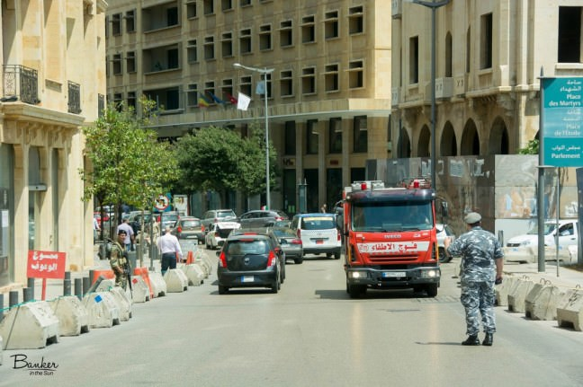 Soldiers at a road intersection on Beirut, Lebanon