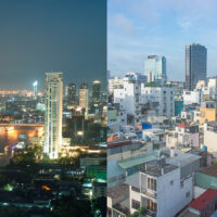 A side by side comparison of the skylines of Bangkok, Thailand and Ho Chi Minh City, Vietnam