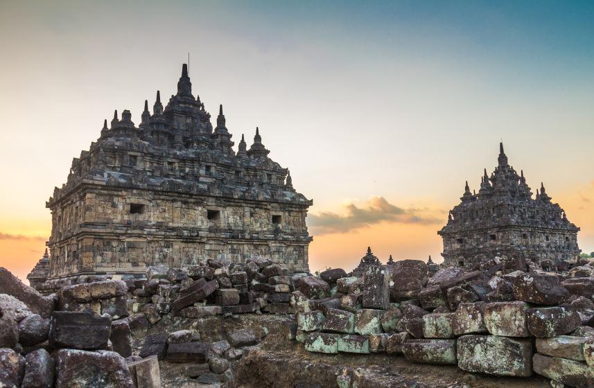 The Plaosan twin temples in Yogyakarta, Indonesia.
