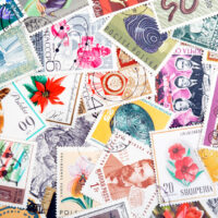Collection of postage stamps from all over the world