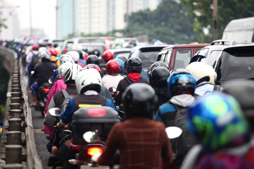 A very long line of traffic in Jakarta, Indonesia