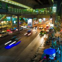One of my first impressions of Bangkok: The impressive BTS Skytrain and its station, pictured here at night.