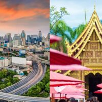 A side by side comparison of Bangkok's skyline versus a temple in Chiang Mai; lead image on whether to move to Bangkok or Chiang Mai