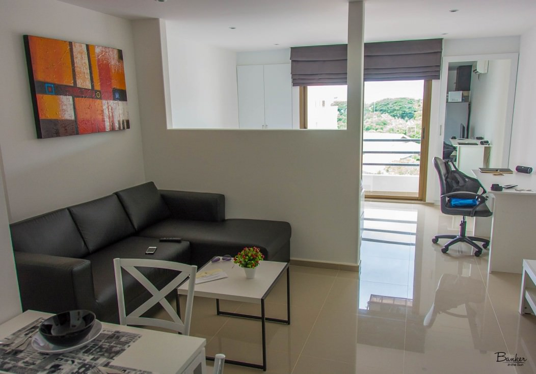 A view of my modern studio apartment in Chiang Mai, Thailand.
