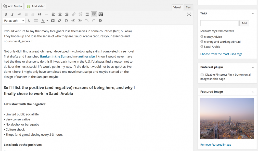 Wordpress Screenshot of a Blog Post of Banker in the Sun.