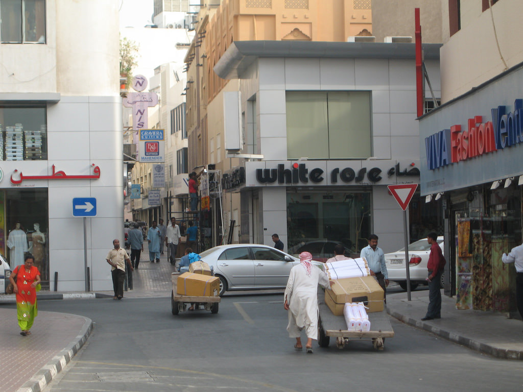 An old street in Dubai, UAE. The shops look modern, but a rustic Arabian flair still hangs heavy in the air.
