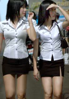 Thai university girls with very short skirts, definitely not a good indicator of a good girl in Thailand.