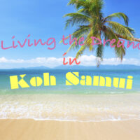A picture of the sea water crawling up on a Koh Samui Beach. A palm treet leans into the picture. Cover photo of: Living in Koh Samui.