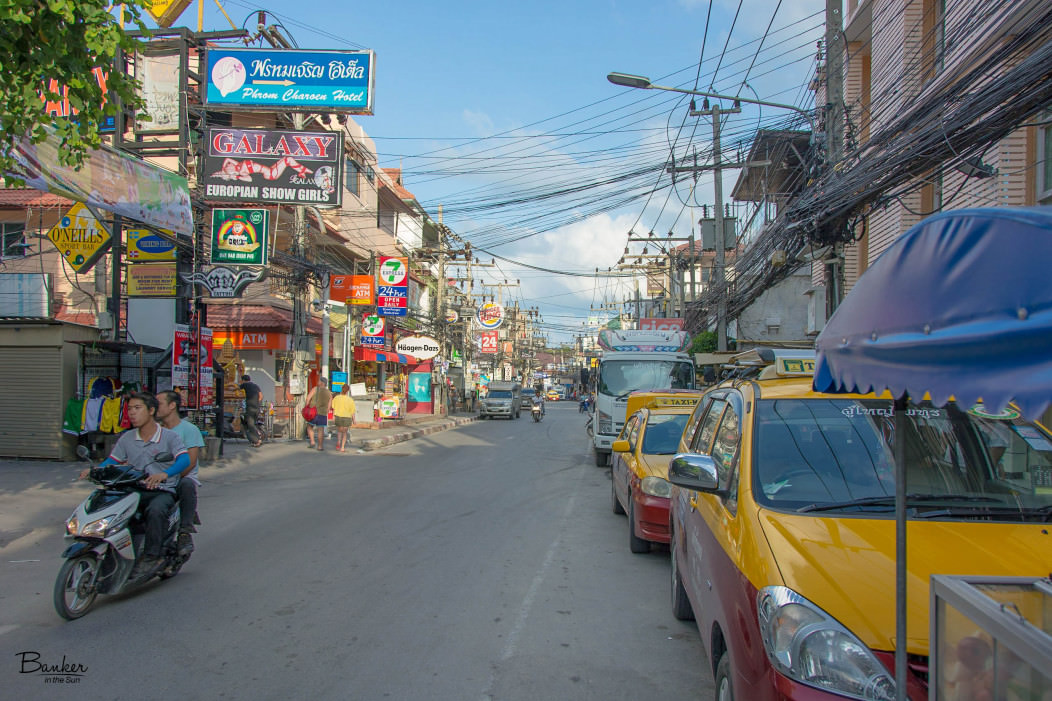 Koh Samui's Chaweng Beach street. It is packed full of tourist shops for foreigners, as well as bars and western convenience stores.