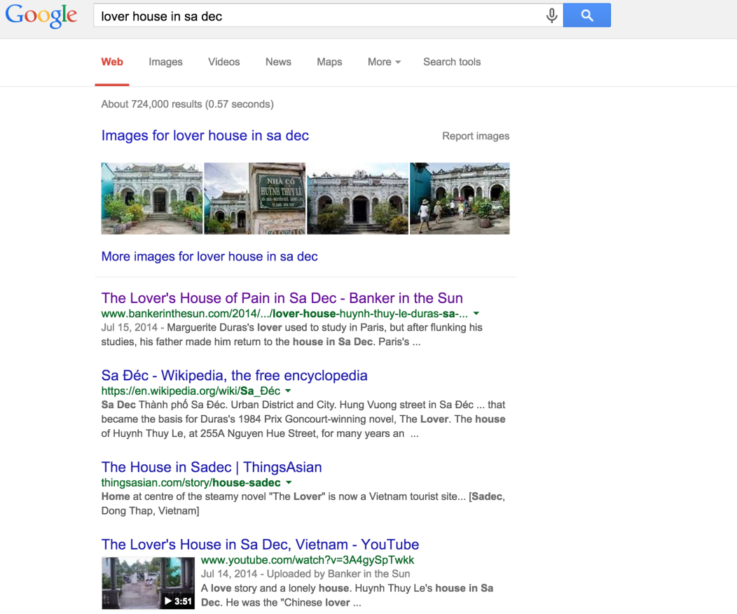 "A Google query result for ""lover house in sa dec."" It shows Banker in the Sun blog being the top result for pictures, video, and text."
