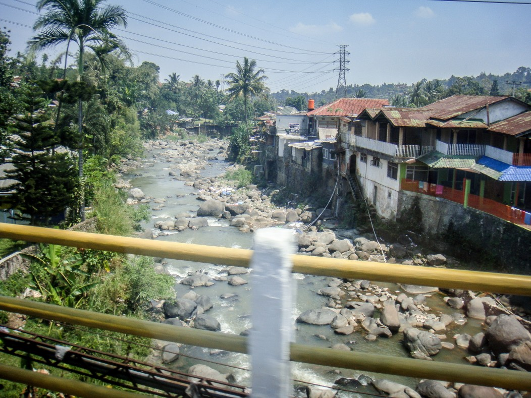 The river slums and shanty houses in the poor districts of Jakarta, Indonesia.