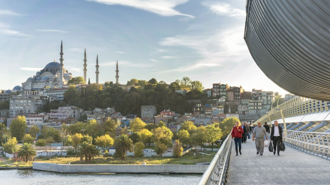 Cityscape of Mosque and Golden Horn Metro Bridge In Istanbul, Turkey.