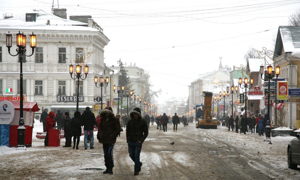 Novgorod during the winter. The Streets are lined with snow and it looks charming, but very cold.