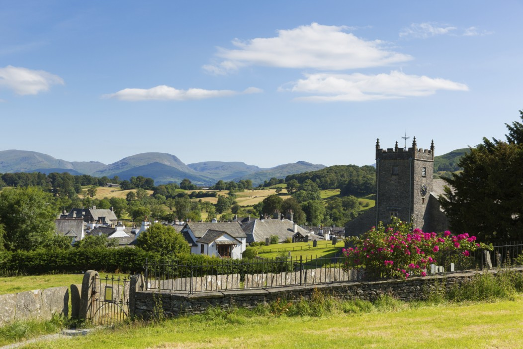 Traditional British countryside village Hawkshead