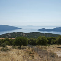 Panoramic scenery of Kefalonia Island in Greece. Several islets can be seen in the distance of the ocean.