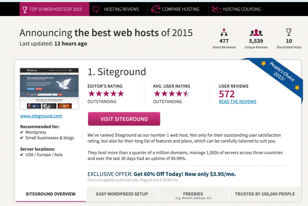 An example of what a product comparison website looks like; in this case a web-hosting comparison site.