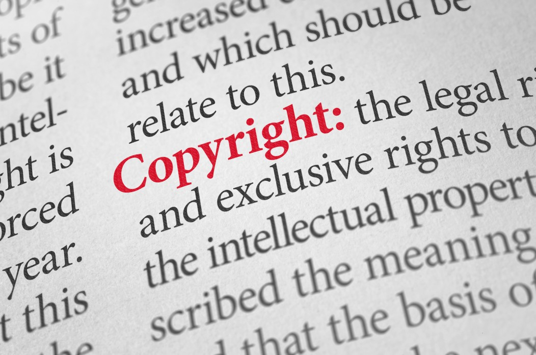 "Dictionary definition of the word ""Copyright"", which is highlighted in red."
