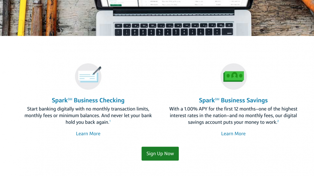 Screenshot of Capital One Sparks Business products page.