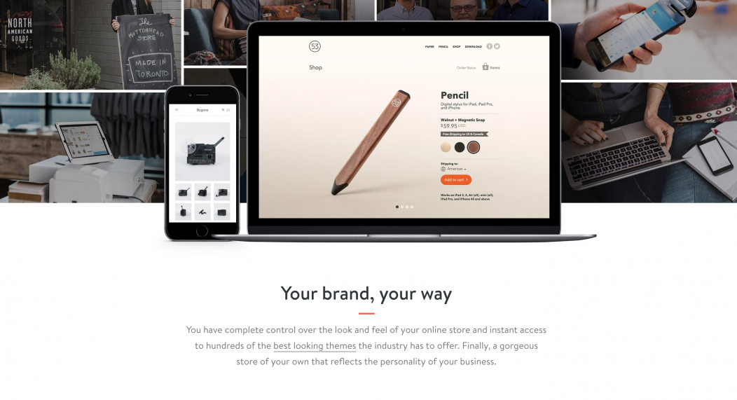 Screenshot of Shopify's main landing page.
