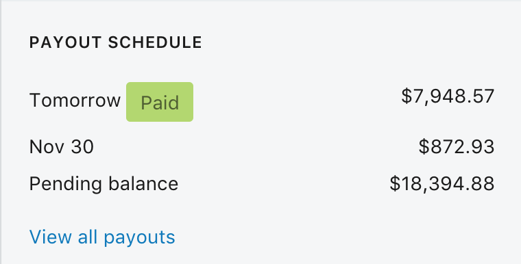 Screenshot of a very high Shopify payout schedule
