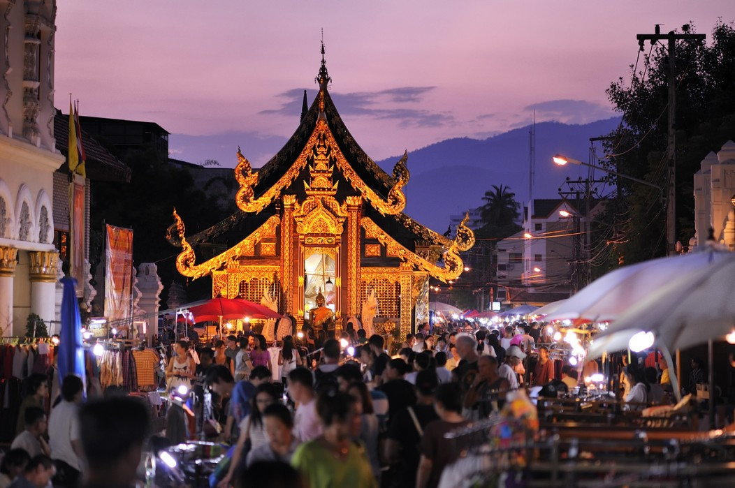 A beautiful temple at the end of Walking Street in Chiang Mai at dusk.