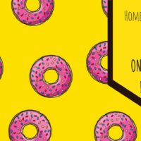 Banner of a guide to online Thai dating by Homer Simpson. Colorful yellow background and pink donuts.