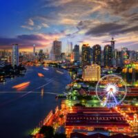 Cityscape of Bangkok and Asiatique next to Chayo Phraya river. One of the many reasons I became an expat in Thailand.
